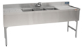 "72"" Stainless Steel Underbar 3 Station Sink - MM-SD64C - 72""L x 19""D x 30""H - NSF Listed"