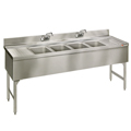 "72"" Stainless Steel Underbar 4 Station Sink - MM-SD64C - 72""L x 19""D x 30""H - NSF Listed"